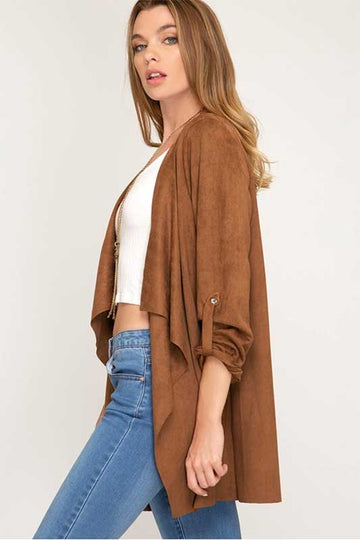 Exhilarating Faux Suede Camel Cardigan