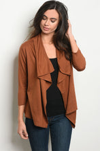Women's Open Front Camel Cardigan Short