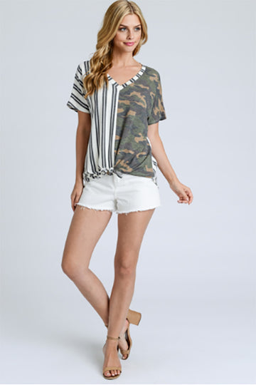 Front and Center Tie Front Camo Shirt