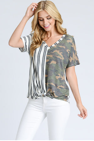 women's camo and stripes tie front shirt
