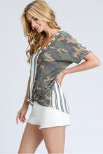 Women's Camo and Striped top