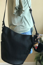 Women's Black Vegan Leather Bucket Shoulder Bag