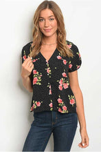 Women's Button Up Floral Short Sleeve Blouse