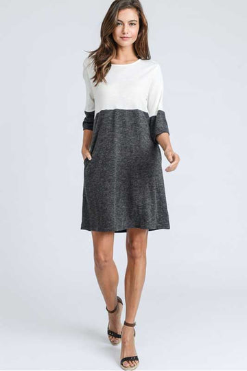 For Goals Charcoal and Ivory Shift Dress