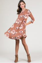 Women's Coco Brown Floral Shift Dress for Fall