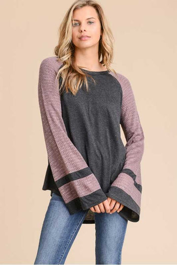 Women's Long Sleeve Two Toned Casual Top