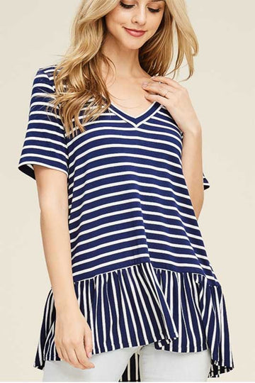 Women's Striped Navy and White V Neck Short Sleeve Top