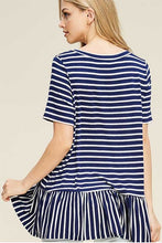 Women's Striped Short Sleeve Top with Ruffles