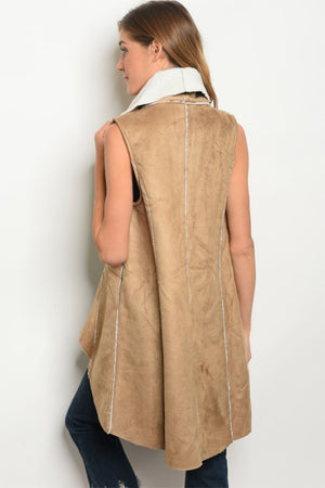 Women's Camel Vest With Sherpa Lining