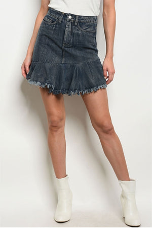 Women's Dark Denim Frayed, Ruffled Hem Mini Skirt