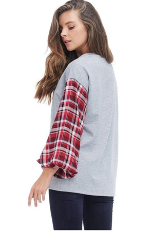 Women's Long Sleeve Rudolph Graphic Tee with Plaid