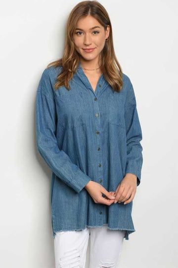 Women's Button Up Denim Shirt with Raw Hem