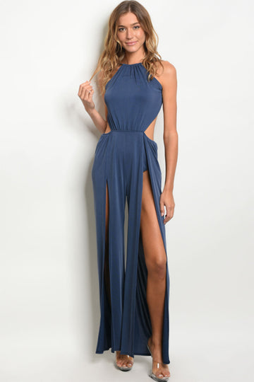 Women's Sleeveless Jumpsuit with Slit Legs