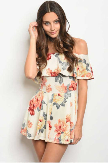 Women's Summer Off The Shoulder Floral Romper