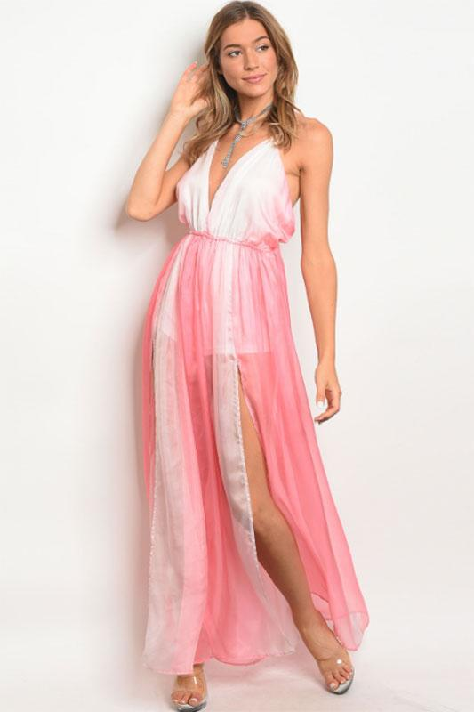 Women's Variated Pink Maxi Dress