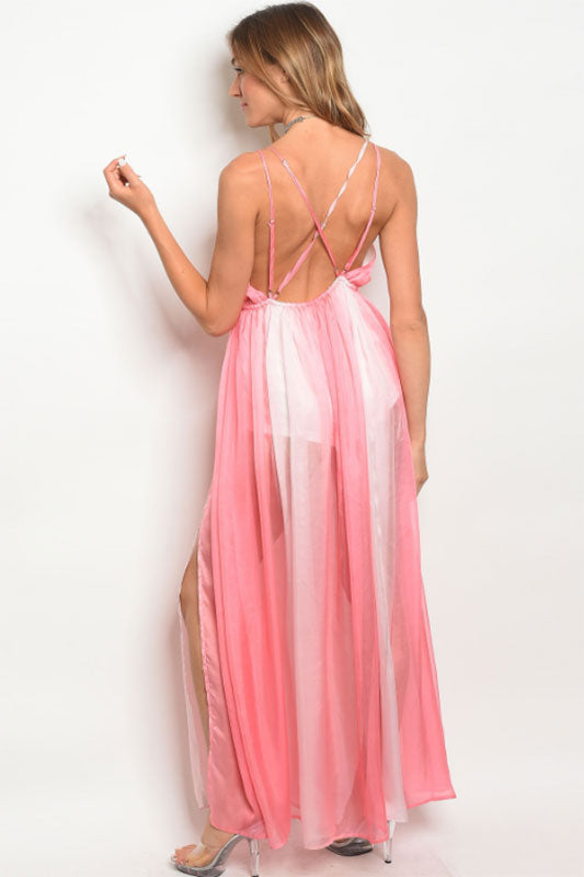 Women's Summer Variated Pink Maxi Dress