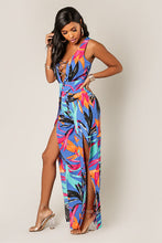 Women's Sleeveless Tropical Print Jumpsuit