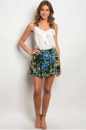 Women's Tropical Print Mini Skirt