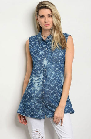 Women's Sleeveless Denim Shirt