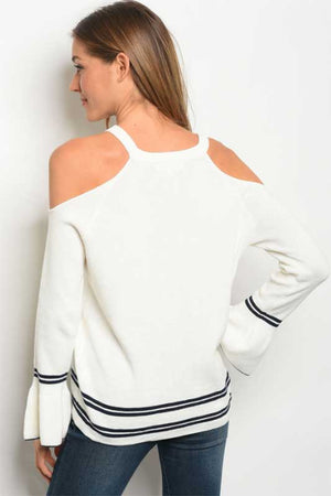 Women's Cold Shoulder Sweater with Collegiate Stripes