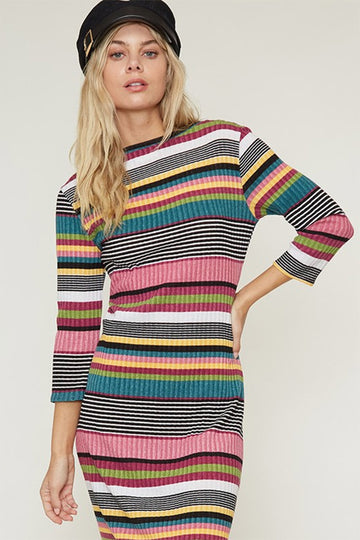 Fall Stripes Fitted Dress