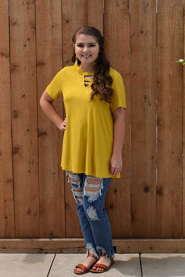 Women's Short Sleeve Mustard tunic top