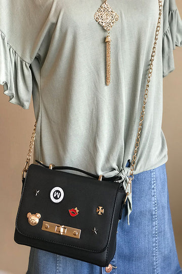 women's black crossbody pin bag