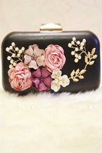 women's black floral detailed clutch