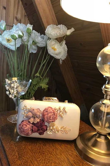 women's floral clutch bag white