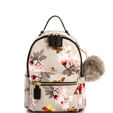 Gray Floral Vegan Backpack Handbag with Pom Pom