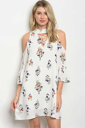 Women's Ivory Floral Print Cold Shoulder Dress