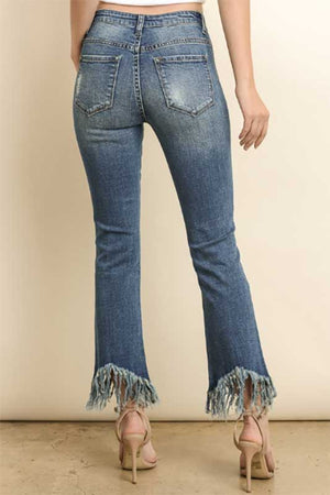 Frayed Out High Rise Distressed Jeans