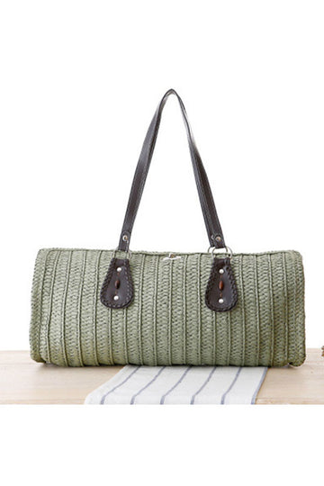 Women's Box Shaped Straw Bag Green