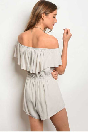 women's off the shoulder solid romper with ruffle