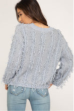 Women's Gray Fall Sweater with Fringe