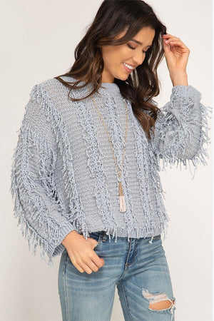 Women's Long Sleeve Fringe and Fuzz Sweater