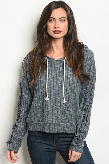 Women's Gray Hoodie with Ruffles