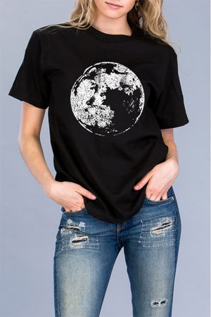 Women's Halloween Moon Graphic Tee