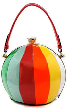Women's Round multi-colored handbag in patent