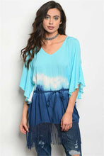 Women's tie dye 3/4 length sleeves tunic with fringe