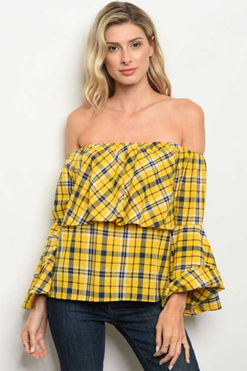 In Demand Yellow Off The Shoulder Plaid