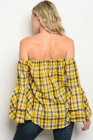 Women's Yellow Plaid Off The Shoulder Top