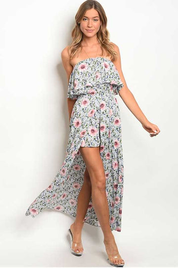 women's floral romper with maxi skirt