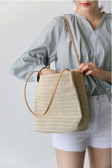 Island Wishes Straw Shoulder Tote Bag