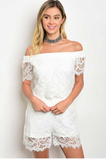 Women's Off Shoulder Ivory Lace Romper