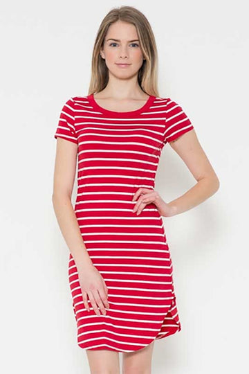 Women's Red and White Striped Tee Shirt Dress