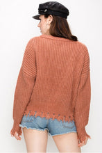 Women's Casual Sweater with Destroyed Design