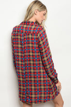 Women's Red Plaid Tunic Dress For Fall