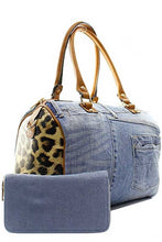 Women's denim bag with wallet and leopard detailing