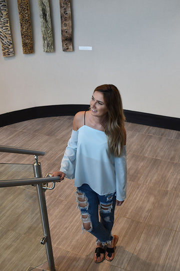 Women's Light blue Off Shoulder Shirt